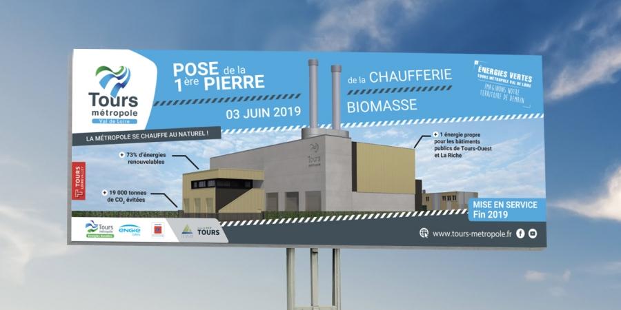 Engie cofely panneau affichage chaufferie biomasse début des travaux Tours métropole